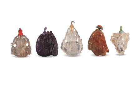 清水晶瓜果烟壶 五件