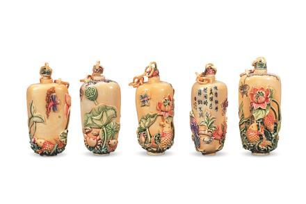 民国象牙彩绘烟壶 十五件