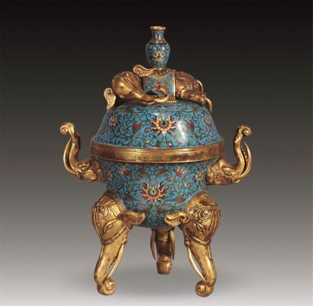 清铜胎掐丝珐琅象钮炉