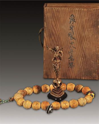 清中期密宗经咒念珠、铜鎏金金刚杵 两件