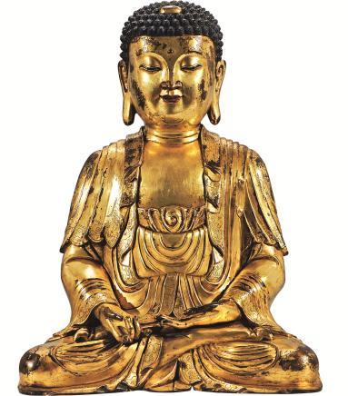 十七世纪铜鎏金阿弥陀佛像