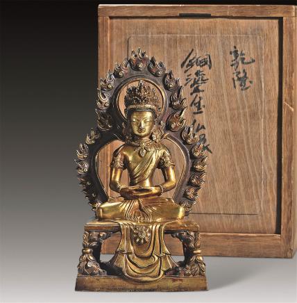 清乾隆铜鎏金无量寿佛龛像