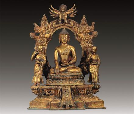清铜鎏金释尊三佛龛
