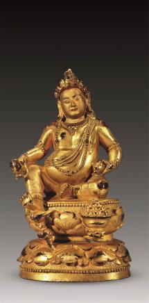 清铜鎏金泥金面黄财神