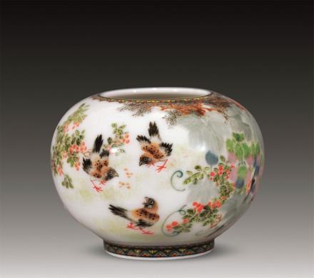 1969年醴陵窑釉下五彩花果水盂