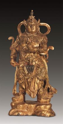 明 铜漆金韦陀立像