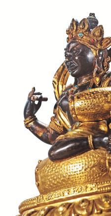 清乾隆铜鎏金妙音佛母