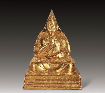 清铜鎏金宗喀巴像