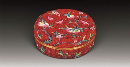 清洋彩瓷仿漆福寿盒