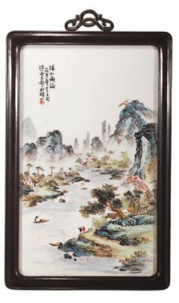 二十世纪汪小亭粉彩溪山雨後瓷画