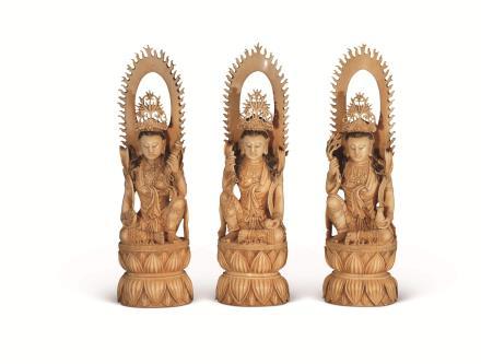 民国 牙雕观音坐像 三件