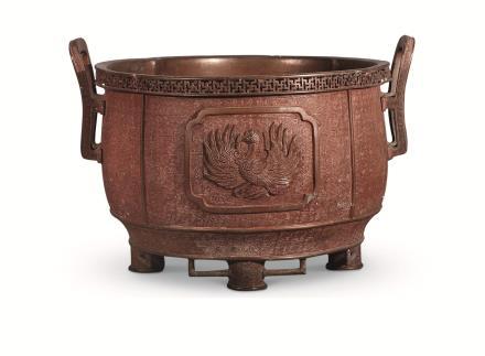 清 铜铸凤纹大炉