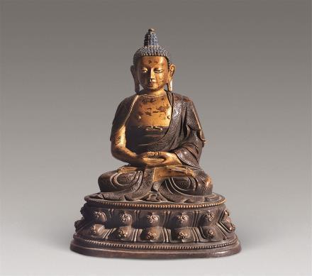 清 铜泥金阿弥陀佛像