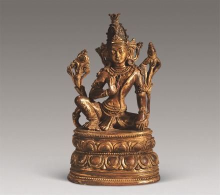 清 铜鎏金度母像