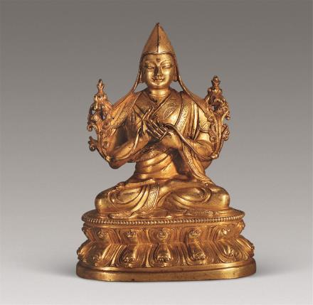 清 铜鎏金宗格巴像