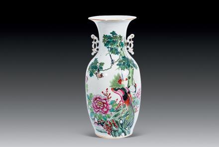 民国 花鸟瓷瓶