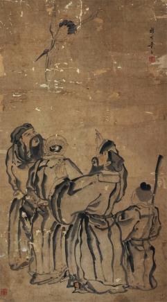 佚名东坡画鹤图