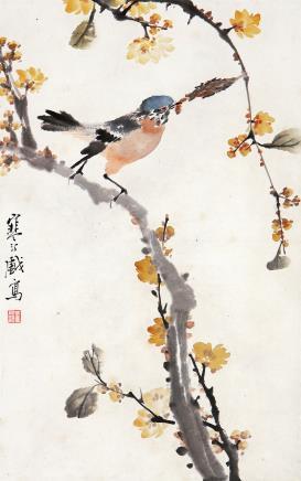 江寒汀(1904-1963)腊梅小鸟