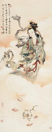 张大千(1899~1983)03081936年作 天女散花图 立轴 设色纸本