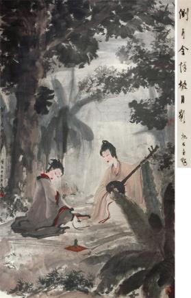 傅抱石(1904~1965)0503侧耳含情披月影 立轴 设色纸本