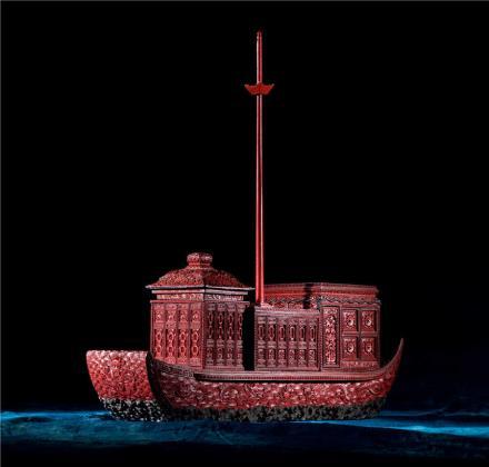清乾隆 剔彩宝船
