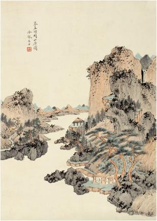 吴琴木(1894~1953) 高士山居图 立轴 设色纸本